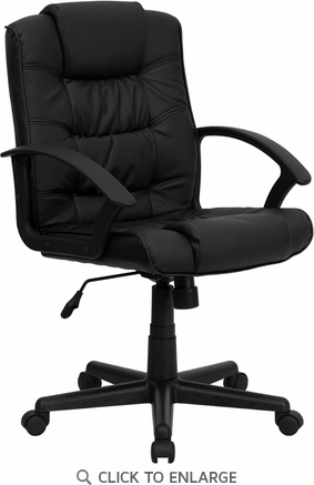 Mid-Back Black Leather Office Chair [GO-937M-BK-LEA-GG]