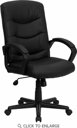 Mid-Back Black Leather Office Chair [GO-977-1-BK-LEA-GG]