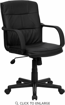 Mid-Back Black Leather Office Chair with Nylon Arms [GO-228S-BK-LEA-GG]