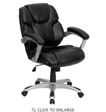 Mid-Back Black Leather Office Task Chair [GO-931H-MID-BK-GG]