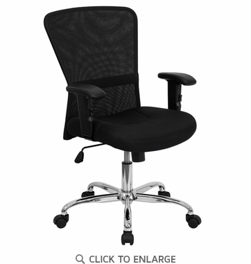 Mid-Back Black Mesh Contemporary Office Chair with Adjustable Arms and Chrome Base [GO-5307B-GG]