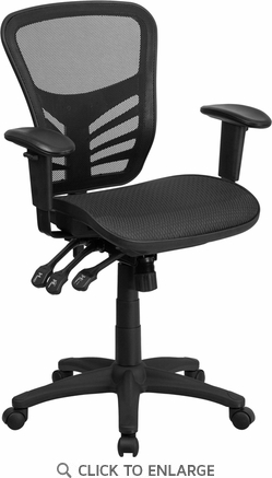 Mid-Back Black Mesh Executive Swivel Office Chair with Multi-Function Triple Paddle Control and Height Adjustable Arms [HL-0001T-GG]