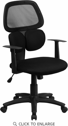 Mid-Back Black Mesh Office Chair with Dual Lumbar Support [BT-2755-BK-GG]
