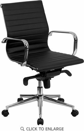 Mid-Back Black Ribbed Upholstered Leather Conference Chair [BT-9826M-BK-GG]