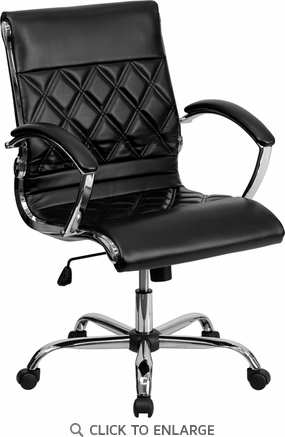 Mid-Back Designer Black Leather Executive Office Chair with Chrome Base [GO-1297M-MID-BK-GG]