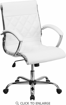 Mid-Back Designer White Leather Executive Office Chair with Chrome Base [GO-1297M-MID-WHITE-GG]