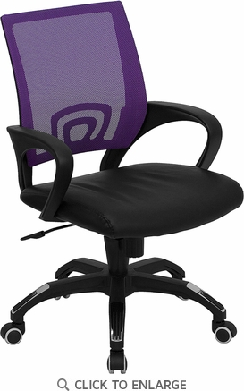 Mid-Back Purple Mesh Office Chair with Black Leather Seat [CP-B176A01-PURPLE-GG]