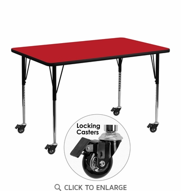 Mobile 24''W x 48''L Rectangular Activity Table with 1.25'' Thick High Pressure Red Laminate Top and Standard Height Adjustable Legs