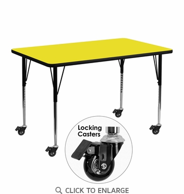 Mobile 24''W x 48''L Rectangular Activity Table with 1.25'' Thick High Pressure Yellow Laminate Top and Standard Height Adjustable Legs