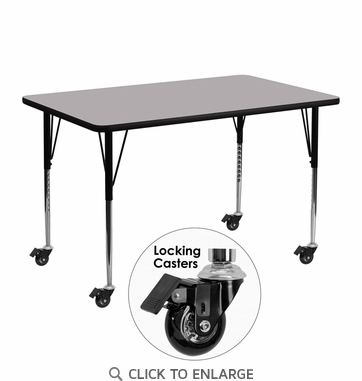 Mobile 24''W x 48''L Rectangular Activity Table with Grey Thermal Fused Laminate Top and Standard Height Adjustable Legs