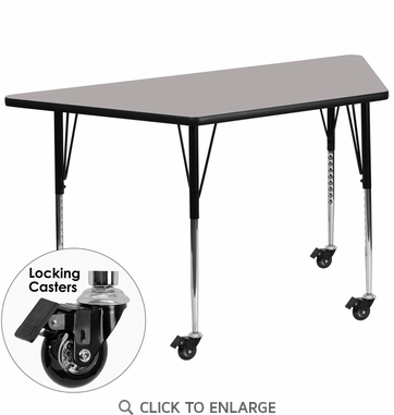 Mobile 24''W x 48''L Trapezoid Activity Table with 1.25'' Thick High Pressure Grey Laminate Top and Standard Height Adjustable Legs
