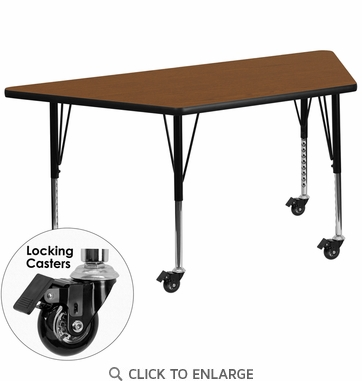 Mobile 24''W x 48''L Trapezoid Activity Table with 1.25'' Thick High Pressure Oak Laminate Top and Height Adjustable Preschool Legs