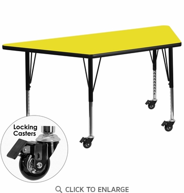 Mobile 24''W x 48''L Trapezoid Activity Table with 1.25'' Thick High Pressure Yellow Laminate Top and Height Adjustable Preschool Legs