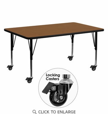 Mobile 24''W x 60''L Rectangular Activity Table with 1.25'' Thick High Pressure Oak Laminate Top and Height Adjustable Preschool Legs