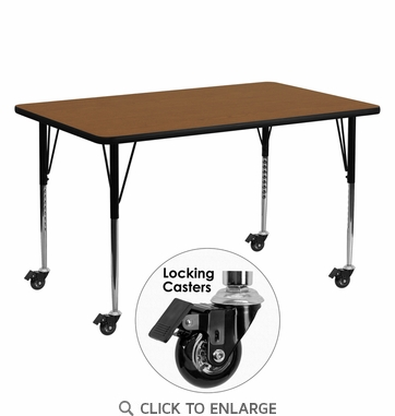 Mobile 24''W x 60''L Rectangular Activity Table with 1.25'' Thick High Pressure Oak Laminate Top and Standard Height Adjustable Legs