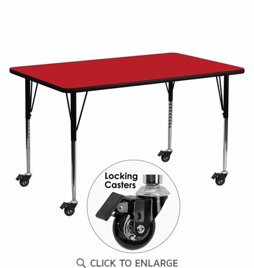 Mobile 24''W x 60''L Rectangular Activity Table with 1.25'' Thick High Pressure Red Laminate Top and Standard Height Adjustable Legs