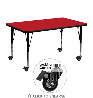 Mobile 30''W x 48''L Rectangular Activity Table with 1.25'' Thick High Pressure Red Laminate Top and Height Adjustable Preschool Legs