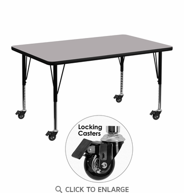 Mobile 30''W x 48''L Rectangular Activity Table with Grey Thermal Fused Laminate Top and Height Adjustable Preschool Legs