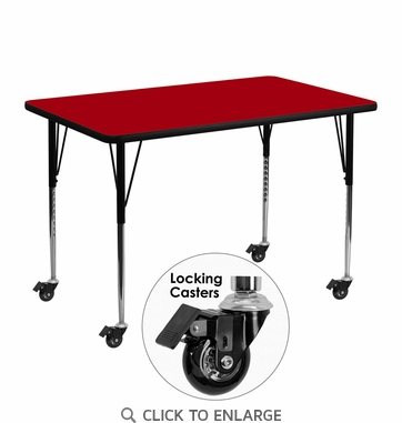 Mobile 30''W x 48''L Rectangular Activity Table with Red Thermal Fused Laminate Top and Standard Height Adjustable Legs