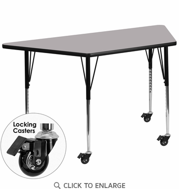 Mobile 30''W x 60''L Trapezoid Activity Table with Grey Thermal Fused Laminate Top and Standard Height Adjustable Legs