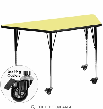 Mobile 30''W x 60''L Trapezoid Activity Table with Yellow Thermal Fused Laminate Top and Standard Height Adjustable Legs