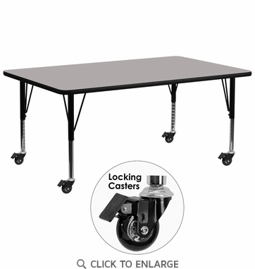 Mobile 30''W x 72''L Rectangular Activity Table with 1.25'' Thick High Pressure Grey Laminate Top and Height Adjustable Preschool Legs