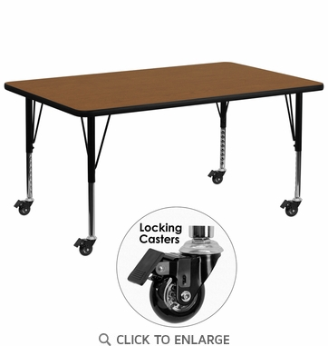 Mobile 30''W x 72''L Rectangular Activity Table with 1.25'' Thick High Pressure Oak Laminate Top and Height Adjustable Preschool Legs