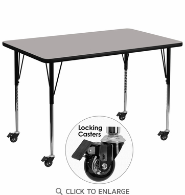Mobile 36''W x 72''L Rectangular Activity Table with 1.25'' Thick High Pressure Grey Laminate Top and Standard Height Adjustable Legs
