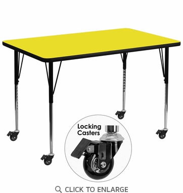 Mobile 36''W x 72''L Rectangular Activity Table with 1.25'' Thick High Pressure Yellow Laminate Top and Standard Height Adjustable Legs