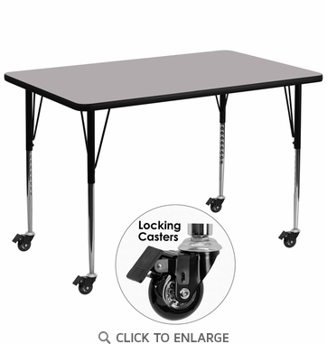Mobile 36''W x 72''L Rectangular Activity Table with Grey Thermal Fused Laminate Top and Standard Height Adjustable Legs
