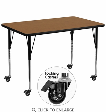 Mobile 36''W x 72''L Rectangular Activity Table with Oak Thermal Fused Laminate Top and Standard Height Adjustable Legs