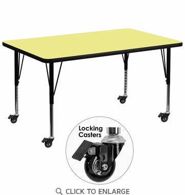 Mobile 36''W x 72''L Rectangular Activity Table with Yellow Thermal Fused Laminate Top and Height Adjustable Preschool Legs