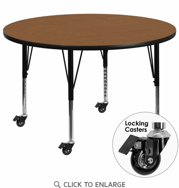 Mobile 42'' Round Activity Table with Oak Thermal Fused Laminate Top and Height Adjustable Preschool Legs