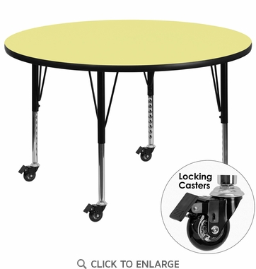 Mobile 42'' Round Activity Table with Yellow Thermal Fused Laminate Top and Height Adjustable Preschool Legs