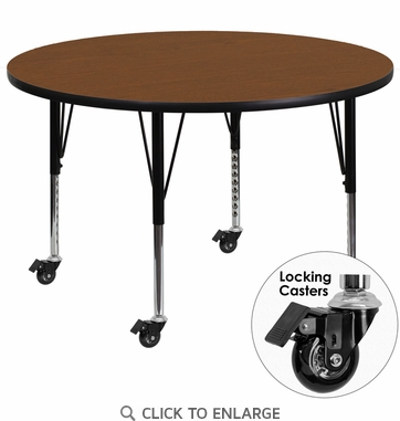Mobile 48'' Round Activity Table with 1.25'' Thick High Pressure Oak Laminate Top and Height Adjustable Preschool Legs