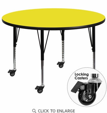 Mobile 48'' Round Activity Table with 1.25'' Thick High Pressure Yellow Laminate Top and Height Adjustable Preschool Legs