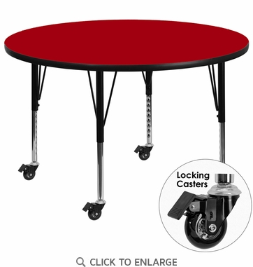 Mobile 48'' Round Activity Table with Red Thermal Fused Laminate Top and Height Adjustable Preschool Legs