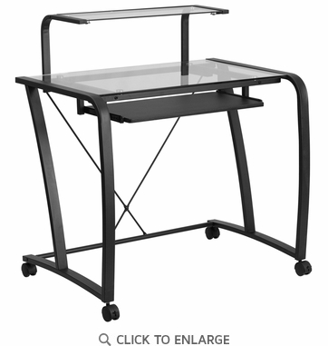 Mobile Glass Computer Desk with Pull-Out Keyboard Tray and Monitor Platform [NAN-WK-053-GG]
