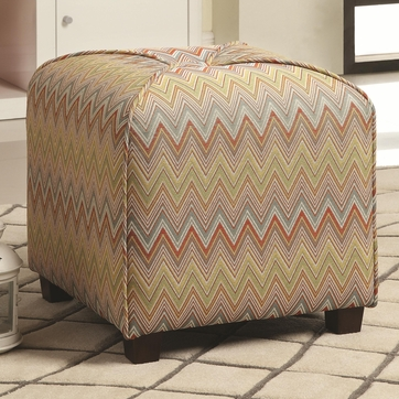 Multi-Color Square Ottoman with Zig Zag Pattern by Coaster 508022