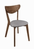 Natural Walnut Dining Side Chair with Gray Seat - Set of 2