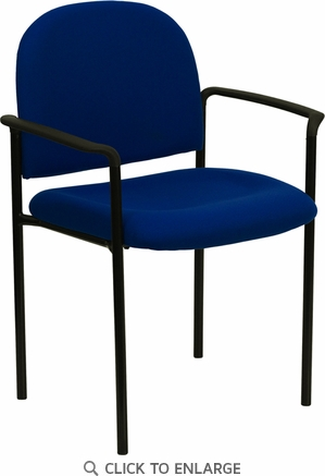 Navy Fabric Comfortable Stackable Steel Side Chair with Arms [BT-516-1-NVY-GG]