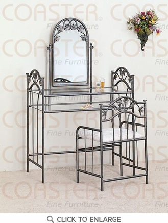 Nickel Bronze Metal Make Up Vanity and Stool with by Coaster - 2734