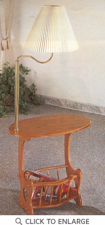 Oak Finish Brass Lamp Magazine Accent Table by Coaster - 4501
