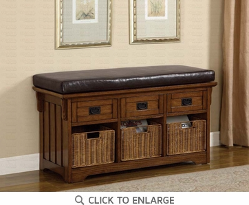 Oak Finish Storage Bench with Baskets by Coaster - 501061