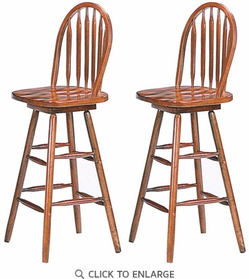 Oak Finish Windsor Arrow Back Swivel Bar Stool by Coaster 4338 -  Set of 2