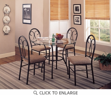 Odelia 5 Piece Black Metal Dining Set by Coaster - 120565