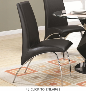 Ophelia Black Vinyl and Metal Dining Chairs by Coaster 120802 - Set of 2