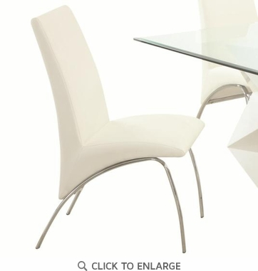 Ophelia White Vinyl and Metal Dining Chairs by Coaster 121572 - Set of 2