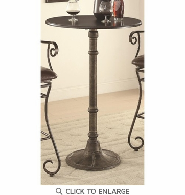 Oswego Distressed Black French Bistro Style Bar Table
