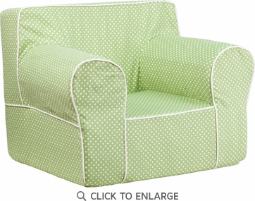 Oversized Green Dot Kids Chair with White Piping [DG-LGE-CH-KID-DOT-GRN-GG]